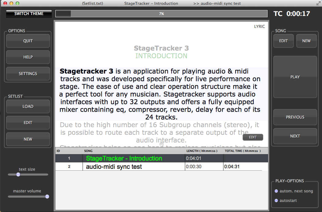 StageTracker Screen shot